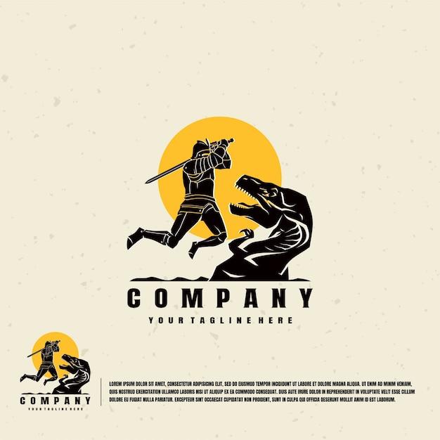 Modello di logo di illustrazione di cavaliere contro dinosauri Vettore Premium