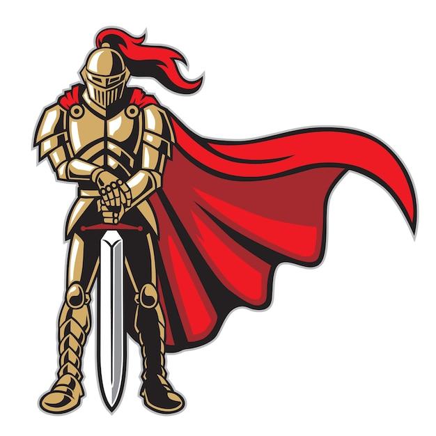 Guerriero cavaliere in armatura Vettore Premium