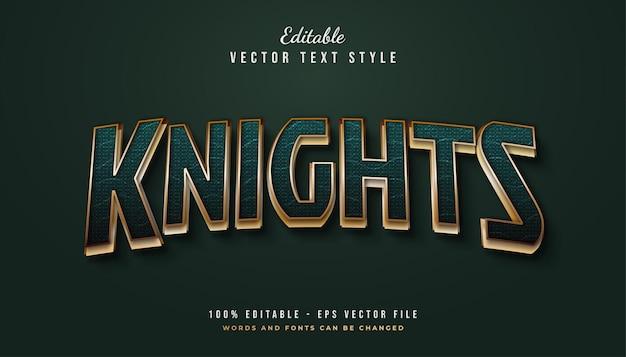 Stile di testo dei cavalieri in verde e oro con effetto curvo e strutturato Vettore Premium