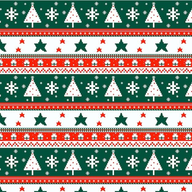Motivo natalizio lavorato a maglia Vettore Premium