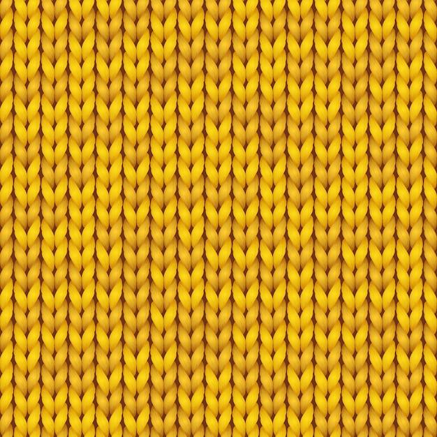 Modello di lavoro a maglia. fondo senza cuciture realistico lavorato a maglia di colore giallo. trama a maglia per sfondi e sfondi. Vettore Premium
