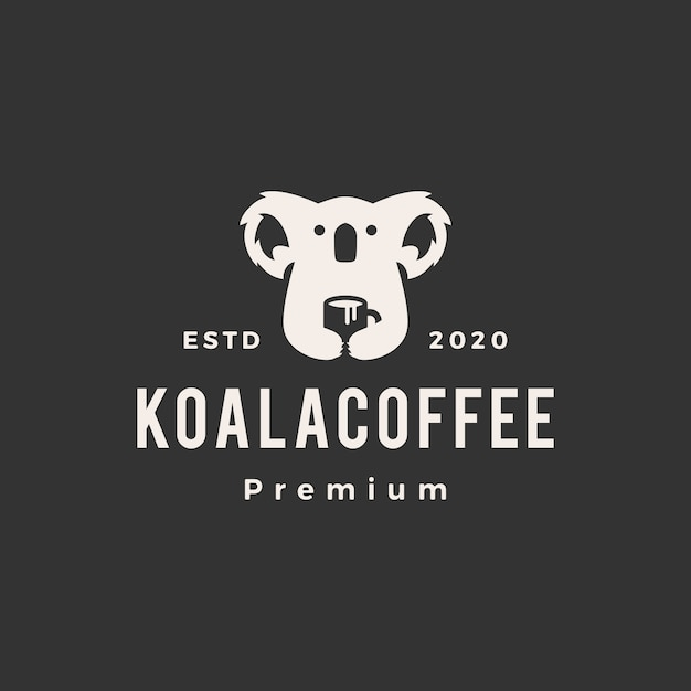 Illustrazione di icona logo vintage caffè koala Vettore Premium