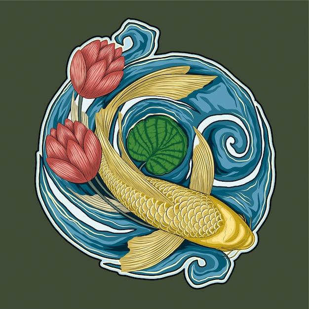 Koi pesce yamabuki ogon e fiore di loto illustrazione Vettore Premium