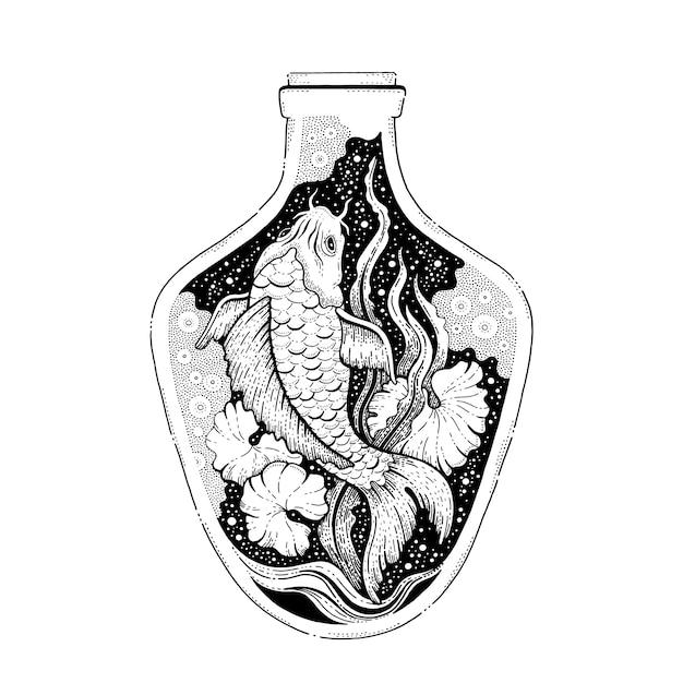 Koi pesce giapponese in bottiglia, design surreale. Vettore Premium