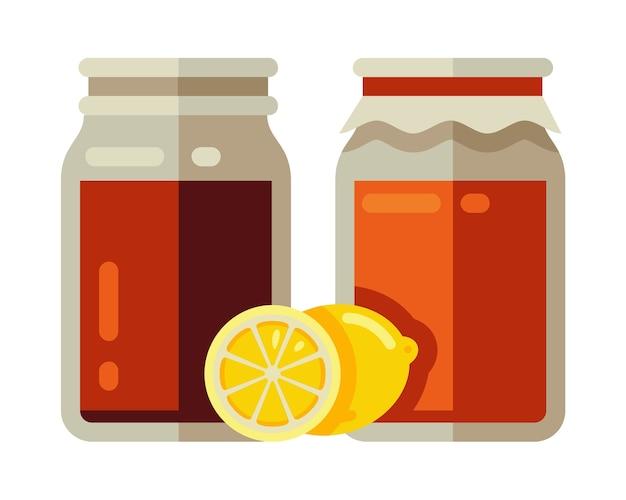 Kombucha fermentato in barattolo con limone Vettore Premium