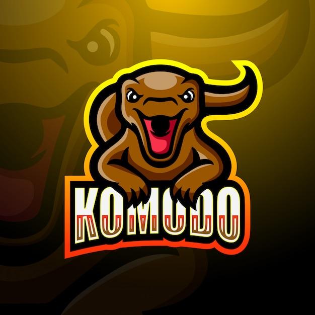 Illustrazione di logo di esportazione di mascotte di komodo Vettore Premium