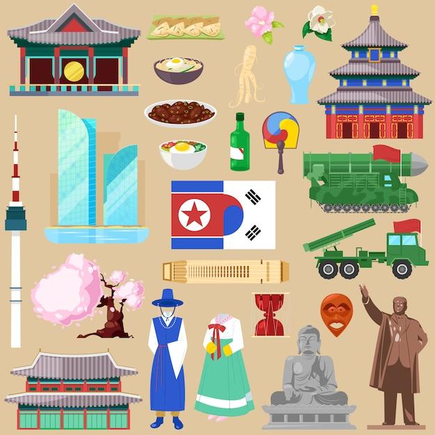 Simbolo coreano della cultura tradizionale coreana del turismo dell'illustrazione del paese di southkorea o northkorea Vettore Premium