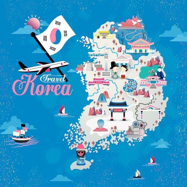 Progettazione della mappa di viaggio della corea con attrazioni Vettore Premium