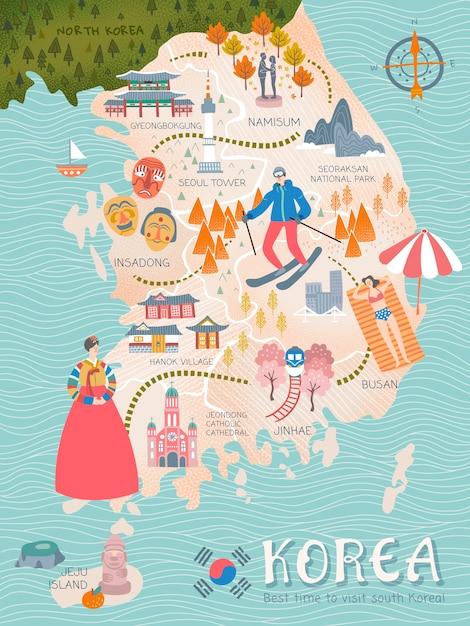 Mappa di viaggio della corea, attrazioni e specialità della corea in stile adorabile per i viaggiatori Vettore Premium