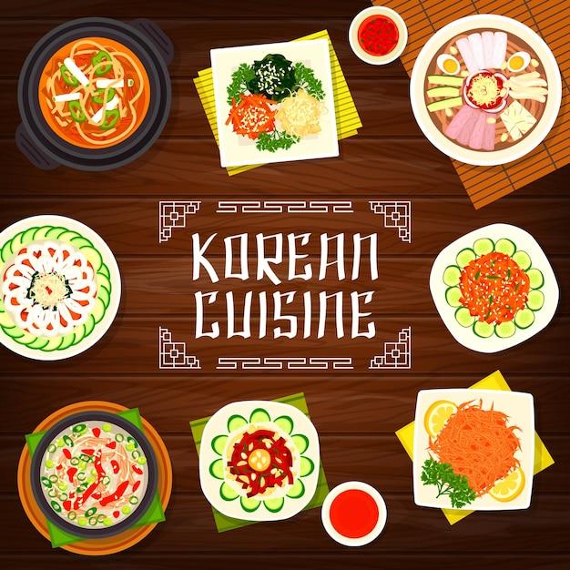 Cucina coreana pyonguang spaghetti freddi e disegno dell'illustrazione della zuppa di maiale kimchi Vettore Premium