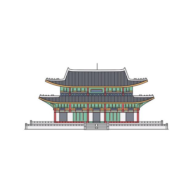 Simbolo coreano del punto di riferimento un antico edificio nell'illustrazione del fumetto di schizzo di stile della pagoda su fondo bianco. turisti architettonici attrazioni asiatiche. Vettore Premium
