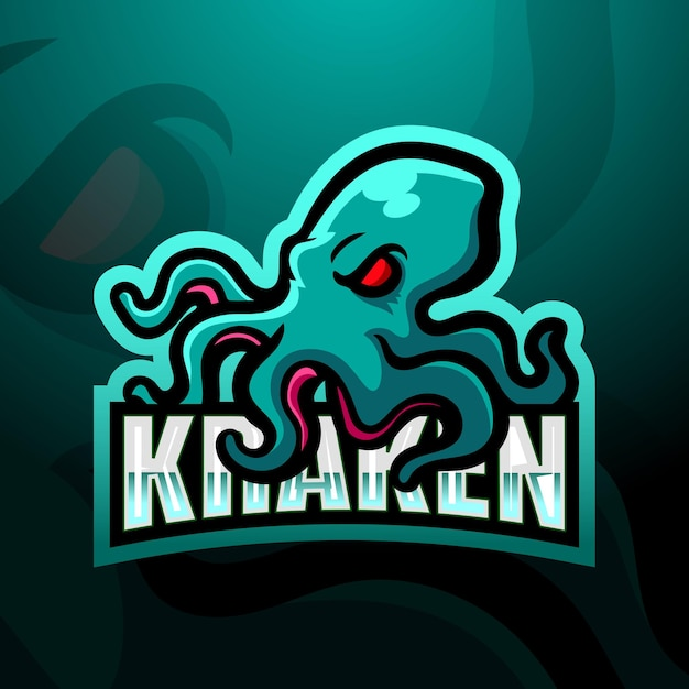 Illustrazione di esport della mascotte kraken Vettore Premium