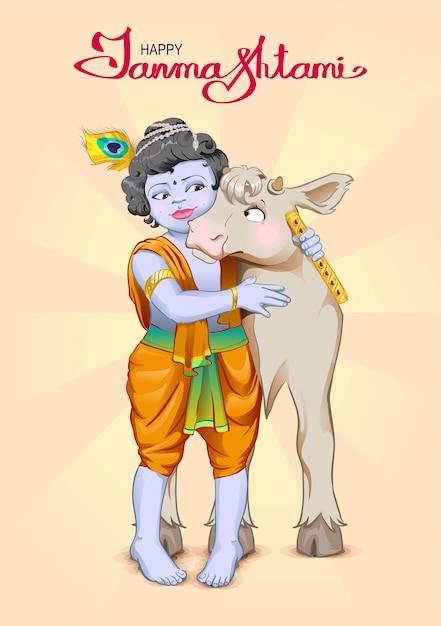 Krishna janmashtami lettering testo per biglietto di auguri. dio è il pastore abbraccia la mucca. compleanno krishna Vettore Premium
