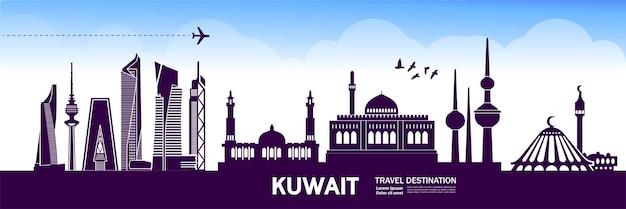 Illustrazione della destinazione di viaggio del kuwait. Vettore Premium