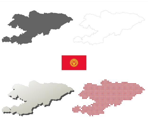 Set di mappa muta vettore kirghizistan Vettore Premium