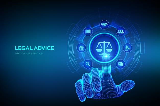 Diritto del lavoro, avvocato, avvocato, concetto di consulenza legale sullo schermo virtuale. diritto di internet e cyberlaw come servizi legali digitali o consulenza di avvocati online. mano che tocca l'interfaccia digitale. Vettore Premium