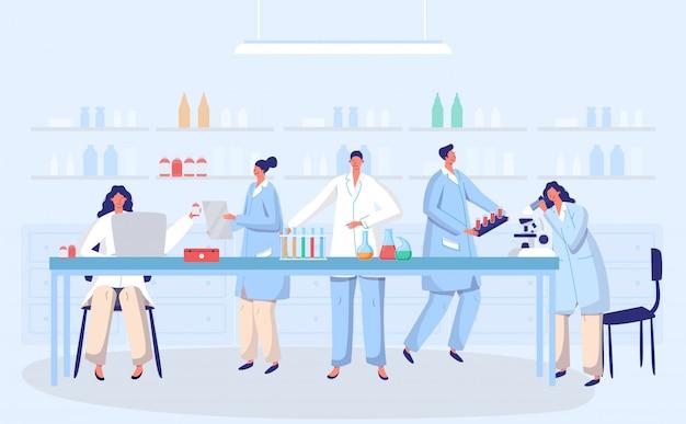 Concetto della gente di medici di ricerca di biologia antivirale del vaccino antivirus del coronavirus del laboratorio con l'illustrazione della boccetta. scienziati in laboratorio, ricercatori di virus chimici con apparecchiature di laboratorio Vettore Premium