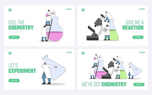 Concetto di esperimenti di laboratorio. pagina di destinazione del sito web. Vettore Premium