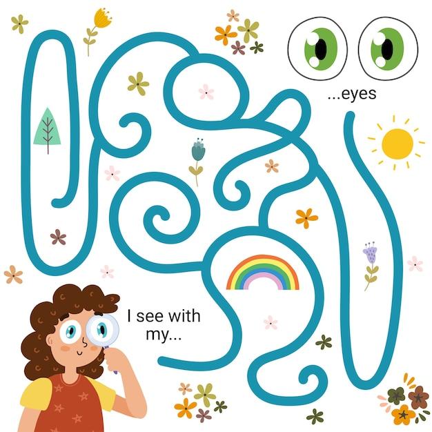 Labirinto gioco di labirinti per bambini - vista. vedo con i miei occhi. pagina delle attività di apprendimento dei cinque sensi per i più piccoli. divertente puzzle per bambini con una ragazza che guarda attraverso una lente di ingrandimento. illustrazione vettoriale Vettore Premium