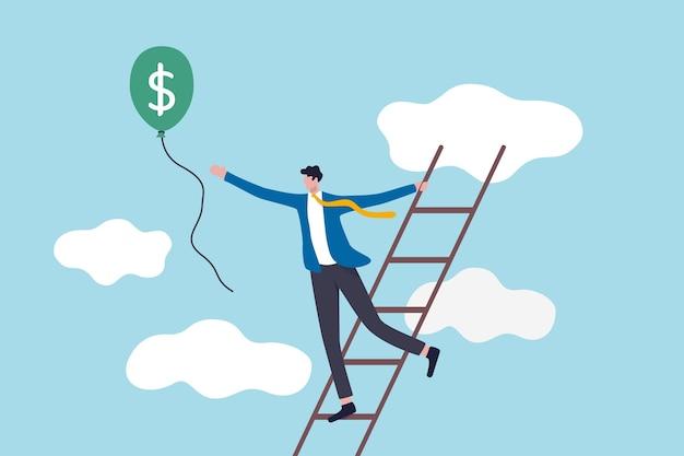 Scala del successo, raggiungimento di obiettivi finanziari o investitore alla ricerca di profitto e concetto di ritorno degli investimenti, uomo d'affari di successo salire la scala fino al cloud per catturare il pallone con soldi in dollari. Vettore Premium