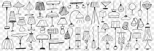 Lampade e lampade da terra doodle insieme. collezione di lampade eleganti carine disegnate a mano per la decorazione domestica su varie forme e dimensioni isolate. Vettore Premium