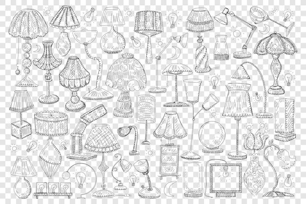 Illustrazione stabilita di doodle di lampade e tonalità Vettore Premium