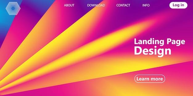 Pagina di destinazione, flusso astratto 3d. design fluido sfumato brillante Vettore Premium