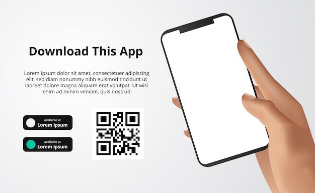 Banner pubblicitario della pagina di destinazione per il download di app per telefono cellulare, smartphone in mano scarica i pulsanti con il modello di codice qr di scansione. Vettore Premium