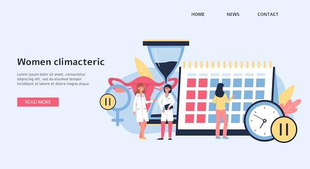 Pagina di destinazione o modello di banner sulle donne climateriche e argomento della menopausa femminile, illustrazione. sfondo sito medico con personaggi dei cartoni animati medici. Vettore Premium