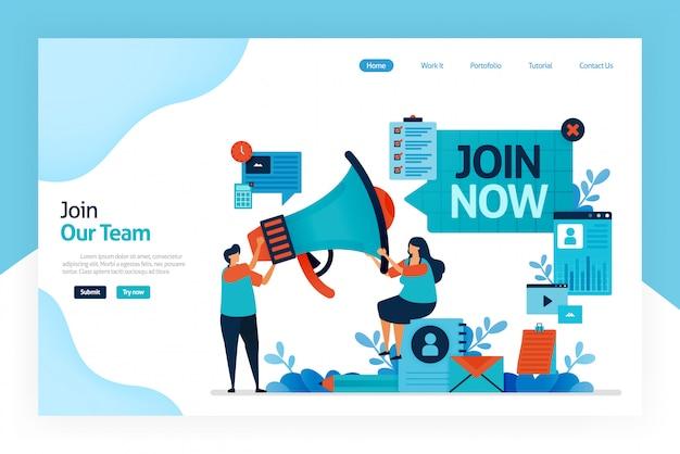 Pagina di destinazione di join ora Vettore Premium