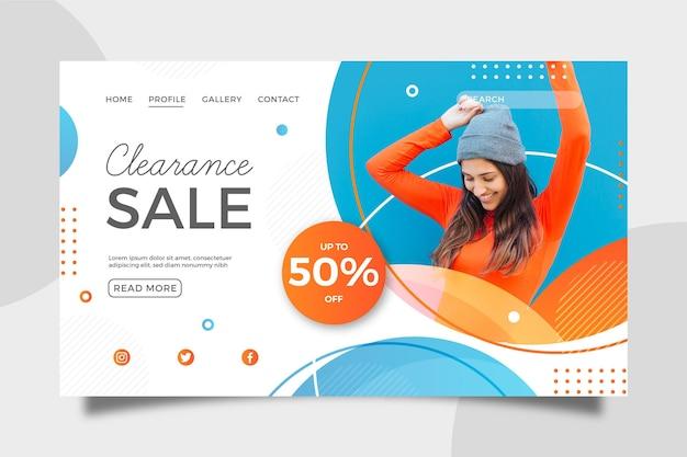 Modello di pagina di destinazione per la vendita di moda Vettore Premium