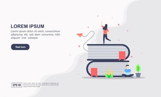 Modello di pagina di destinazione dell'istruzione online Vettore Premium