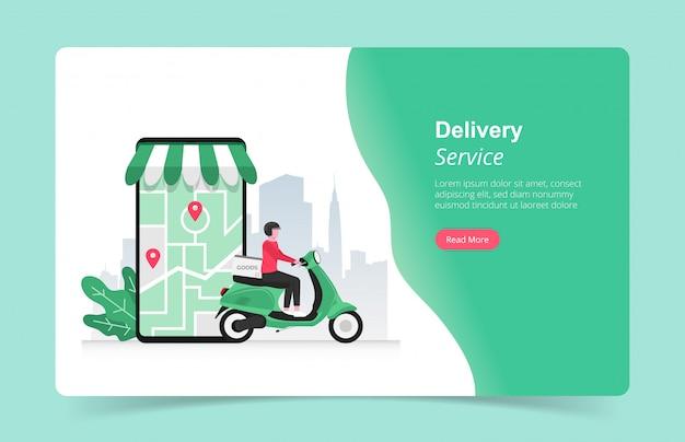 Modello di pagina di destinazione del concetto di servizi di consegna veloce online con corriere e la sua illustrazione di scooter. Vettore Premium