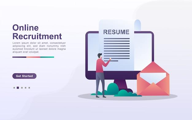Modello di pagina di destinazione del reclutamento online in stile effetto sfumato Vettore Premium