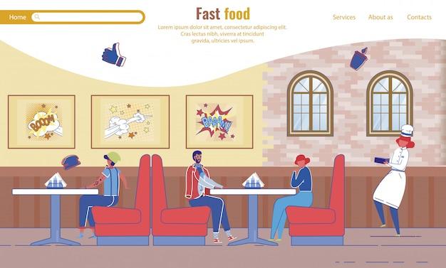 Modello della pagina di destinazione con persone che riposano nel fast food cafe Vettore Premium