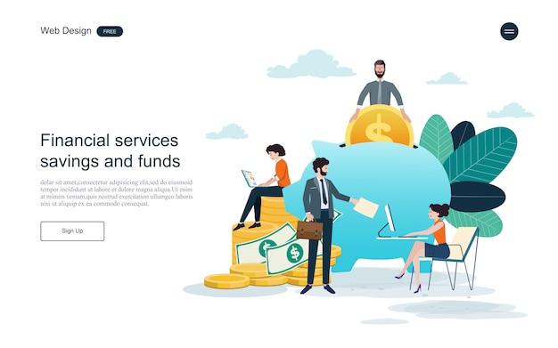 Modello web della pagina di destinazione. concetto per il servizio finanziario, investimenti e risparmio. Vettore Premium