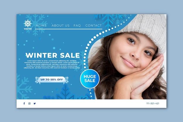 Pagina di destinazione per la vendita invernale Vettore Premium