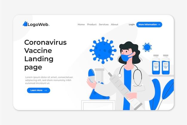 Pagina di destinazione con sviluppo del vaccino contro il coronavirus Vettore Premium