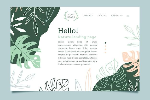 Pagina di destinazione con il concetto di natura Vettore Premium