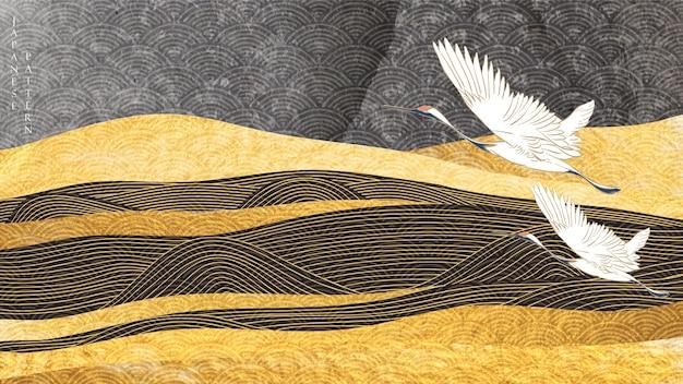 Sfondo del paesaggio con texture oro. onda disegnata a mano giapponese con uccelli gru e montagna in stile vintage. Vettore Premium