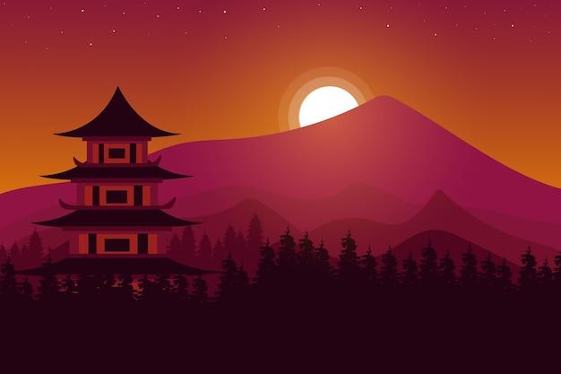 Paesaggio tempio cinese in montagna Vettore Premium