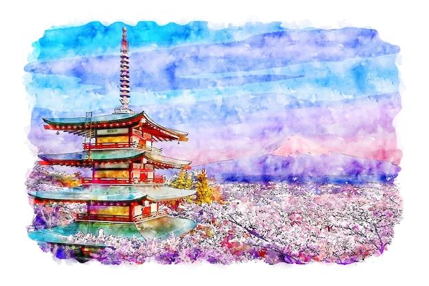 Illustrazione disegnata a mano di schizzo dell'acquerello del giappone della pagoda di chureito del paesaggio Vettore Premium