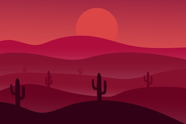 Il paesaggio desertico di notte è rosso Vettore Premium