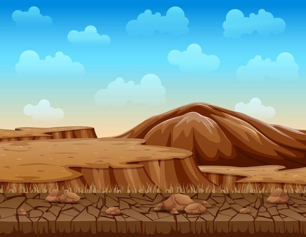 Paesaggio di illustrazione secca terra incrinata Vettore Premium
