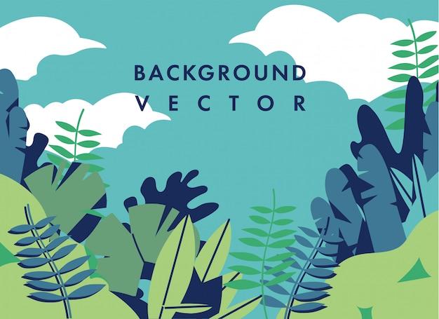 Illustrazione di paesaggio con colori colorati - sfondo con testo modello. può essere utilizzato per poster, cartelli, brochure, banner, pagine web, intestazioni, copertine. Vettore Premium