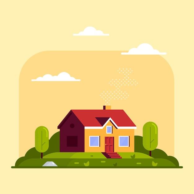 Paesaggio con casetta familiare e alberi Vettore Premium