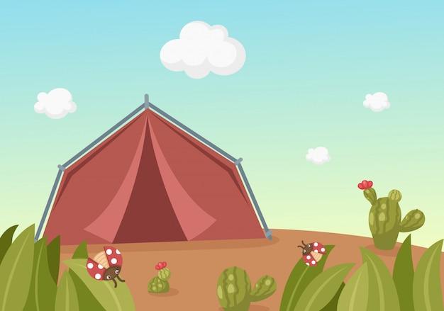 Paesaggio con tenda Vettore Premium