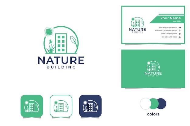 Abbellimento con biglietto da visita logo edificio e natura Vettore Premium