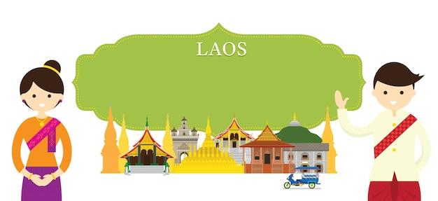 Luoghi d'interesse e abbigliamento tradizionale del laos Vettore Premium