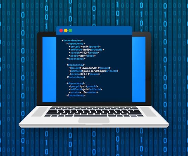 Concetto di codifica del computer portatile. sviluppatore web, programmazione. codice dello schermo del laptop. illustrazione. Vettore Premium